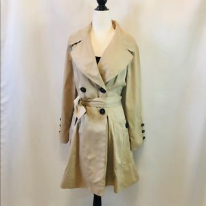 ZARA Tan Trench Belted Coat Jacket With Pleating